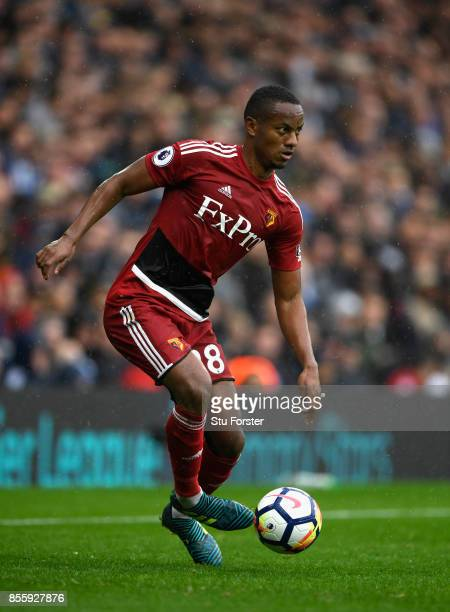 Watford player Andre Carrillo in action during the Premier League match between West Bromwich Albion and Watford at The Hawthorns on September 30...