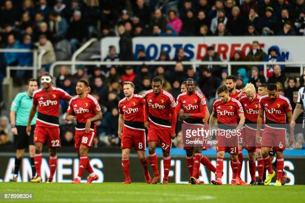 Watford players celebrate after Will Hughes of Watford scores the opening goal during the Premier League match between Newcastle United and Watford...