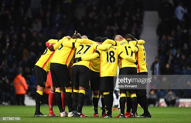 Watford players form a huddle prior to the Premier League match between West Bromwich Albion and Watford at The Hawthorns on December 3 2016 in West...