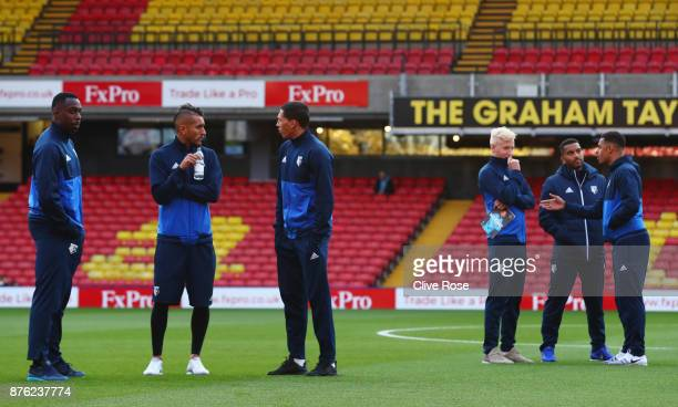 Watford players in discussion on the pitch prior to the Premier League match between Watford and West Ham United at Vicarage Road on November 19 2017...