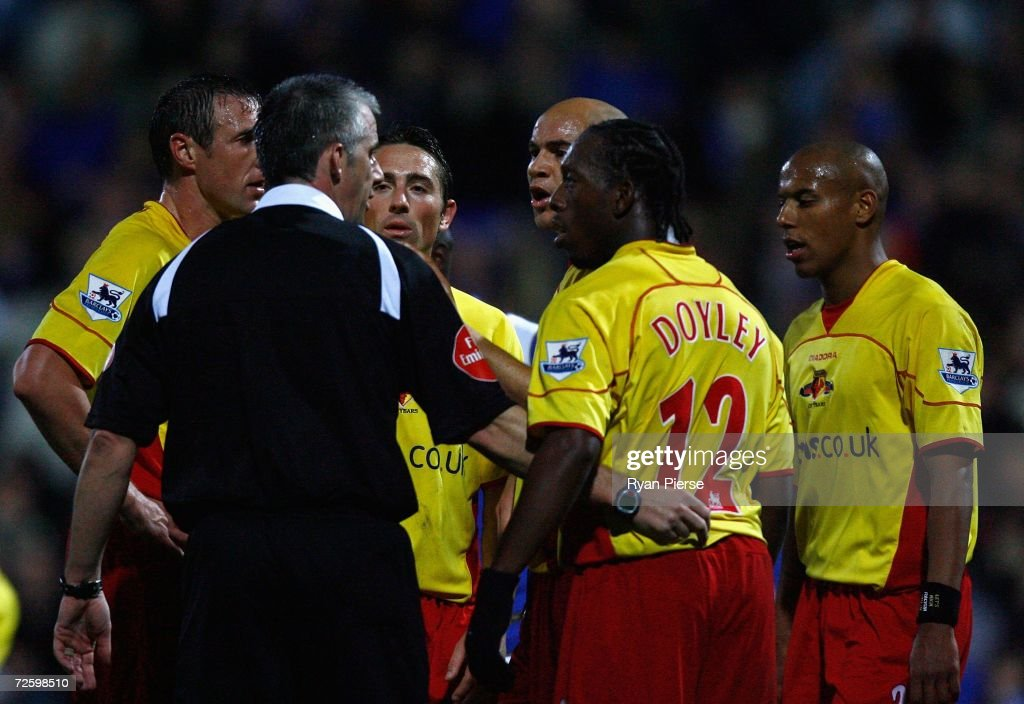 Watford players question a penalty awarded by Referee Chris Foy during the Barclays Premiership match between Portsmouth and Watford at Fratton Park on November 18, 2006 in Portsmouth, United Kingdom.