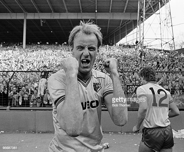 Watford striker George Reilly celebrates his winning goal at the end of their FA Cup SemiFinal match against Plymouth Argyle at Villa Park Birmingham...