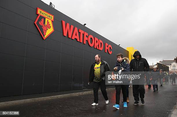 Watford supporters are seen at the stadium prior to the Emirates FA Cup Third Round match between Watford and Newcastle United at Vicarage Road on...
