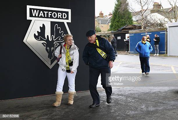Watford supporters arrive at the stadium prior to the Emirates FA Cup Third Round match between Watford and Newcastle United at Vicarage Road on...