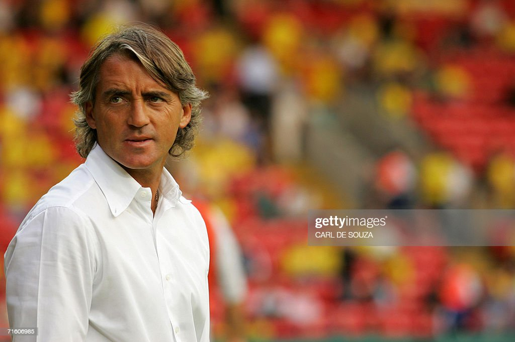 Inter Milan's Manager Roberto Mancini watches their friendly match against Watford at home to Watford, 08 August 2006. The match ended 1-1.