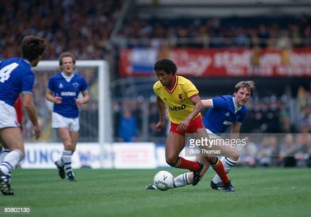 Watford winger John Barnes moves away from Everton defender Gary Stevens during the FA Cup Final at Wembley Stadium 19th May 1984 Everton won 20