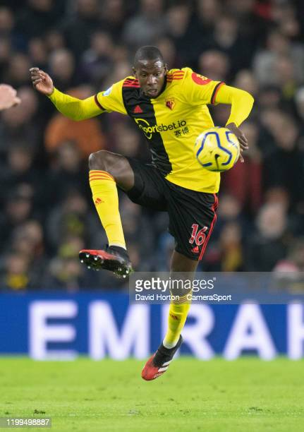 Watford's Abdoulaye Doucoure during the Premier League match between Brighton Hove Albion and Watford FC at American Express Community Stadium on...