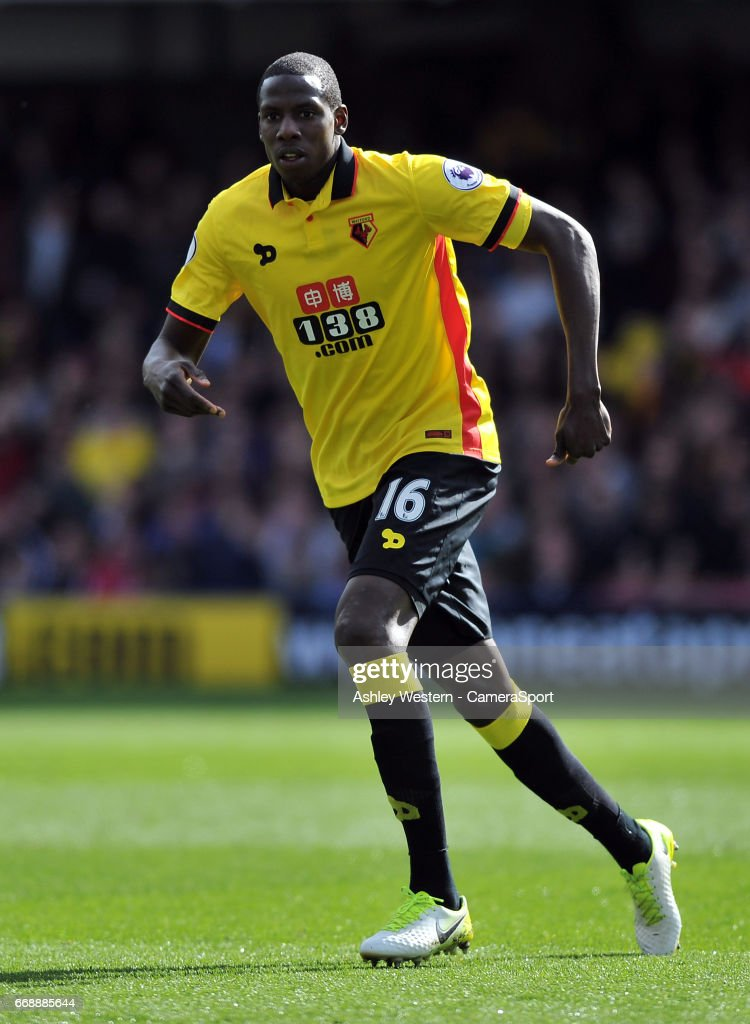 Watford's Abdoulaye Doucoure in action during the Premier League match between Watford and Swansea City at Vicarage Road on April 15, 2017 in Watford, England.