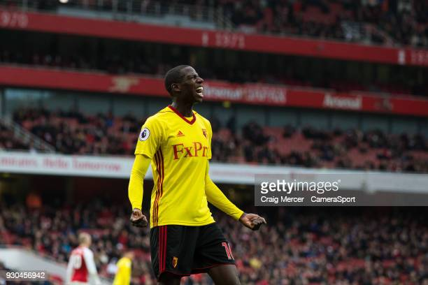 Watford's Abdoulaye Doucoure reacts to a missed chance during the Premier League match between Arsenal and Watford at Emirates Stadium on March 11...