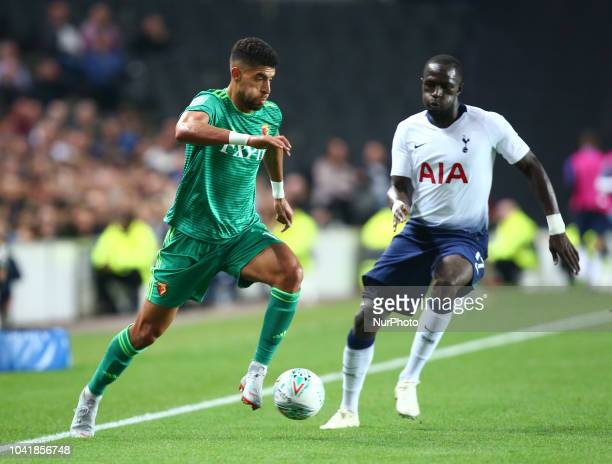 Watford's Adam Masina during Carabao Cup 3rd Round match between Tottenham Hotspur and Watford at Stadium MK Milton Keynes England on 26 Sept 2018