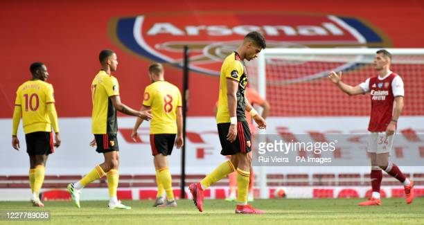 Watford's Adam Masina looks dejected following his side's relegation after the Premier League match at the Emirates Stadium London