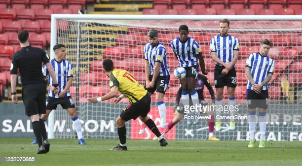 Watford's Adam Masina sees his free-kick blocked by the Sheffield Wednesday wall during the Sky Bet Championship match between Watford and Sheffield...
