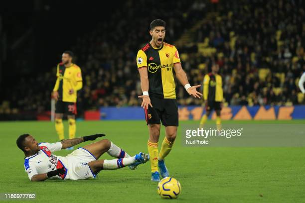 Watford's Adam Masina upset after referee Martin Atkinson's decision to award a free kick to Crystal Palace during the Premier League match between...