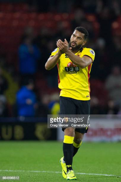 Watford's Adrian Mariappa applauds the fans after the Premier League match between Watford and West Bromwich Albion at Vicarage Road on April 4 2017...