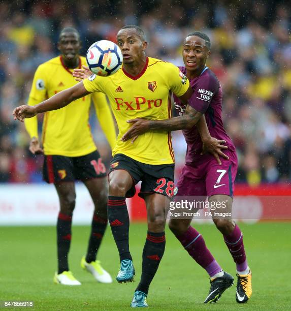 Watford's Andre Carrillo and Manchester City's Raheem Sterling in action during the Premier League match at Vicarage Road Watford