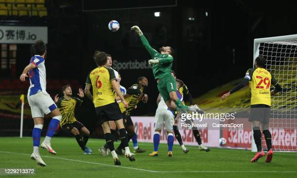 Watford's Ben Foster clears the ball from a cross during the Sky Bet Championship match between Watford and Blackburn Rovers at Vicarage Road on...