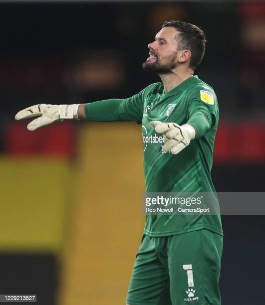 Watford's Ben Foster during the Sky Bet Championship match between Watford and Blackburn Rovers at Vicarage Road on October 21, 2020 in Watford,...