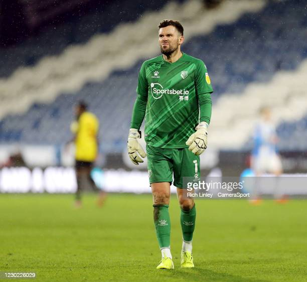 Watford's Ben Foster during the Sky Bet Championship match between Huddersfield Town and Watford at John Smith's Stadium on December 19, 2020 in...