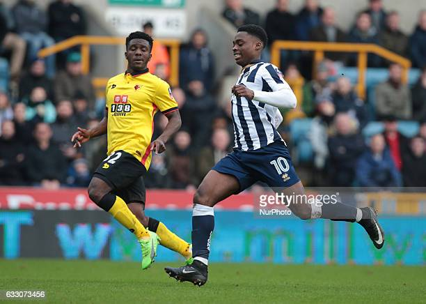 LR Watford's Brandon Mason and Millwall's Fred Onyedinma during The Emirates FA Cup Fourth Round match between Millwall against Watford at The Den on...
