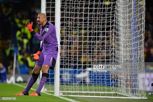 Watford's Brazilian goalkeeper Heurelho Gomes gestures during the English Premier League football match between Chelsea and Watford at Stamford...