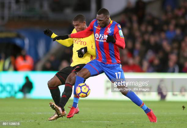 Watford's Christian Kabasele and Crystal Palace's Christian Benteke battle for the ball during the Premier League match at Selhurst Park London