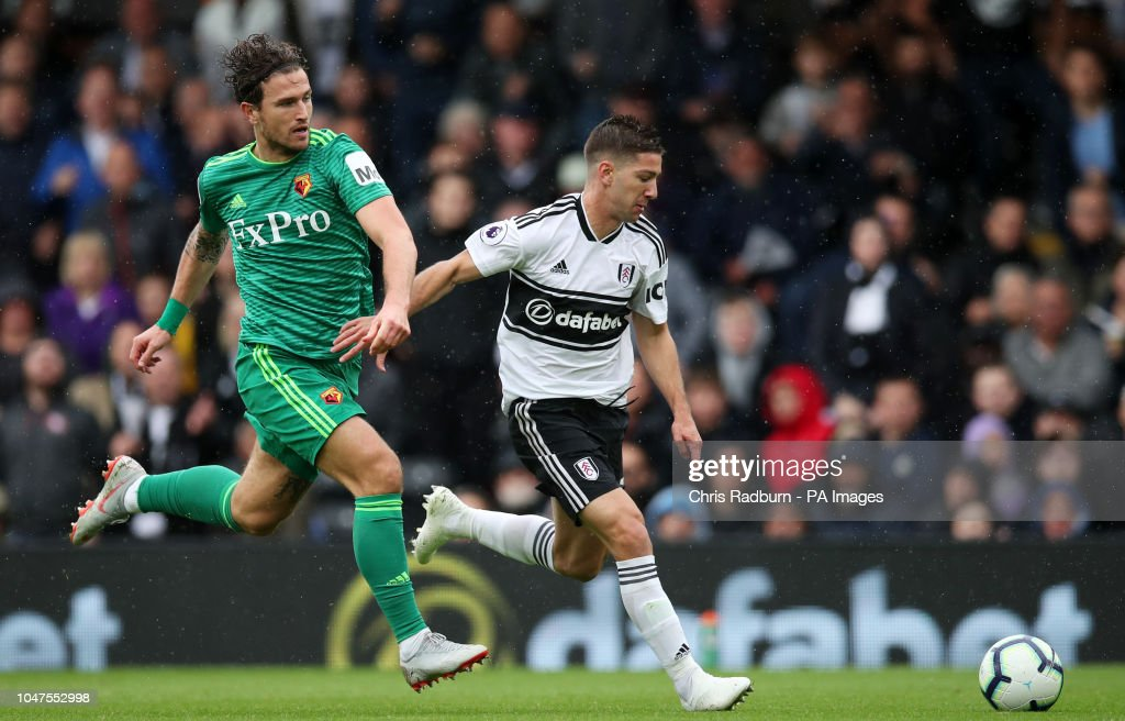 Watford's Daryl Janmaat And Fulham's Luciano Vietto Battle