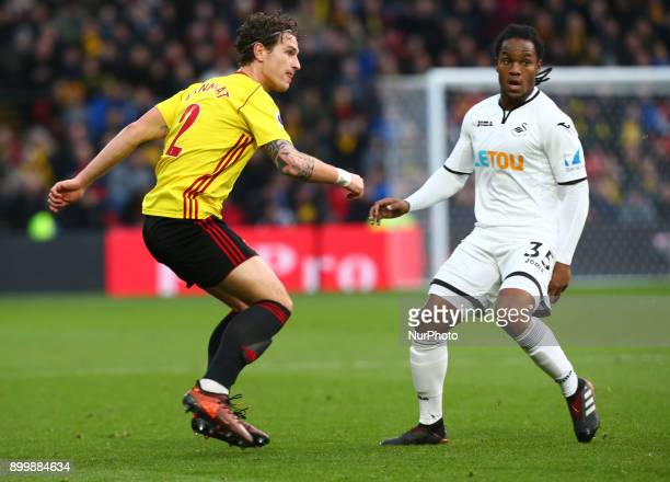 LR Watford's Daryl Janmaat and Swansea City's Renato Sanches during Premier League match between Watford and Swansea City at Vicarage Road Stadium...
