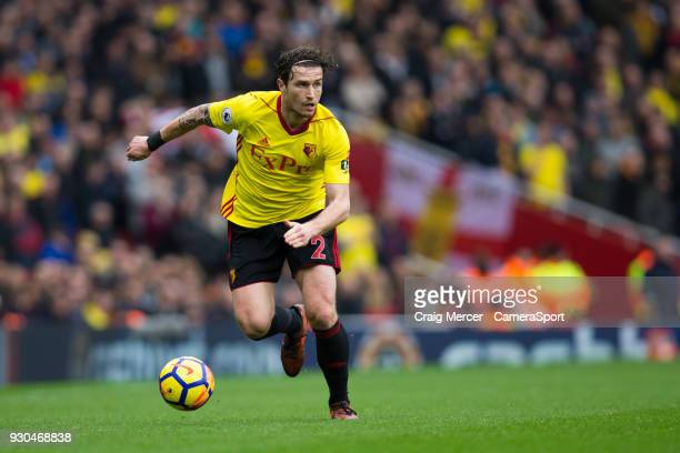 Watford's Daryl Janmaat in action during the Premier League match between Arsenal and Watford at Emirates Stadium on March 11 2018 in London England