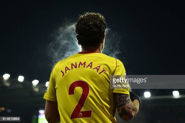 Watford's Dutch defender Daryl Janmaat prepares to throw the ball in during the English Premier League football match between Watford and Chelsea at...