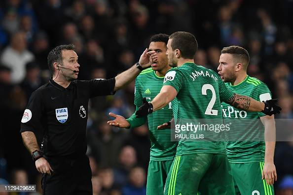 Watford's Dutch Defender Daryl Janmaat Protests To Referee