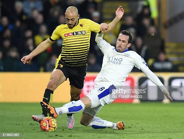 Watford's Dutchborn Moroccan midfielder Nordin Amrabat vies with Leicester City's English midfielder Matty James during the English Premier League...