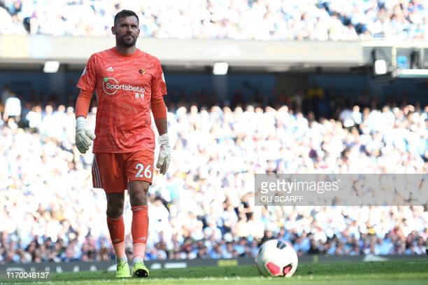 Watford's English goalkeeper Ben Foster reacts during the English Premier League football match between Manchester City and Watford at the Etihad...
