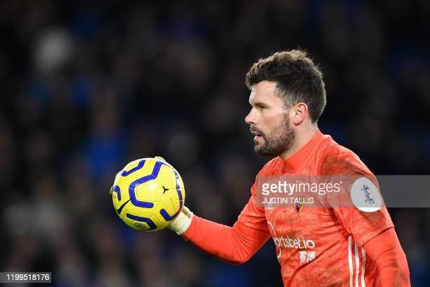 Watford's English goalkeeper Ben Foster reacts during the English Premier League football match between Brighton and Hove Albion and Watford at the...