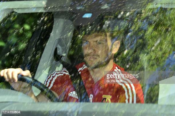 Watford's English mifielder Tom Cleverley arrives at Watford's training facility at London Colney in north London on May 20 2020 as training...