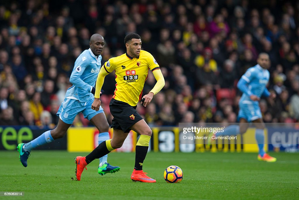 Watford's Etienne Capoue in action during the Premier League match between Watford and Stoke City at Vicarage Road on November 27, 2016 in Watford, England.