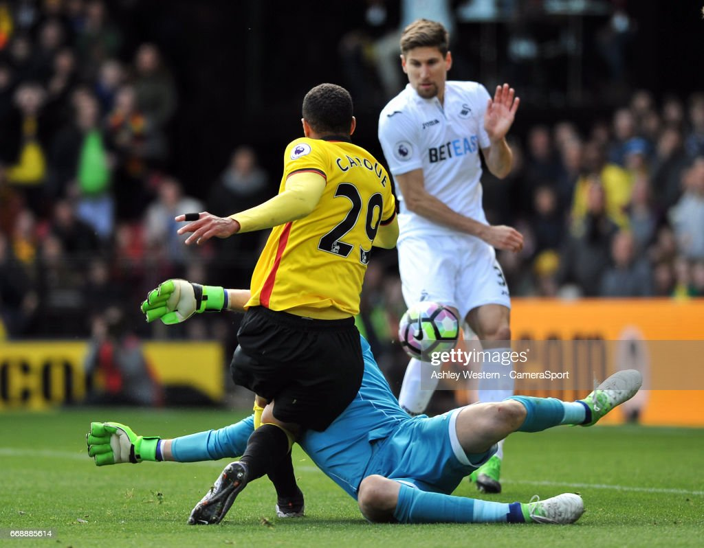 Watford's Etienne Capoue scores the opening goal during the Premier League match between Watford and Swansea City at Vicarage Road on April 15, 2017 in Watford, England.