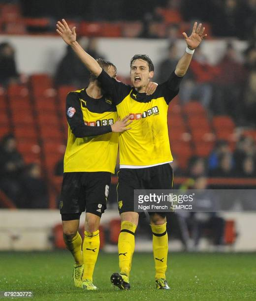 Watford's Gabriele Angella celebrates with Lars Joel Ekstrand after scoring the opening goal of the game against Nottingham Forest