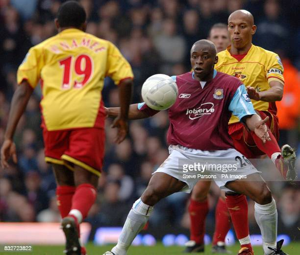 Watford's Gavin Mahon and West Ham United's Shaun Newton in action
