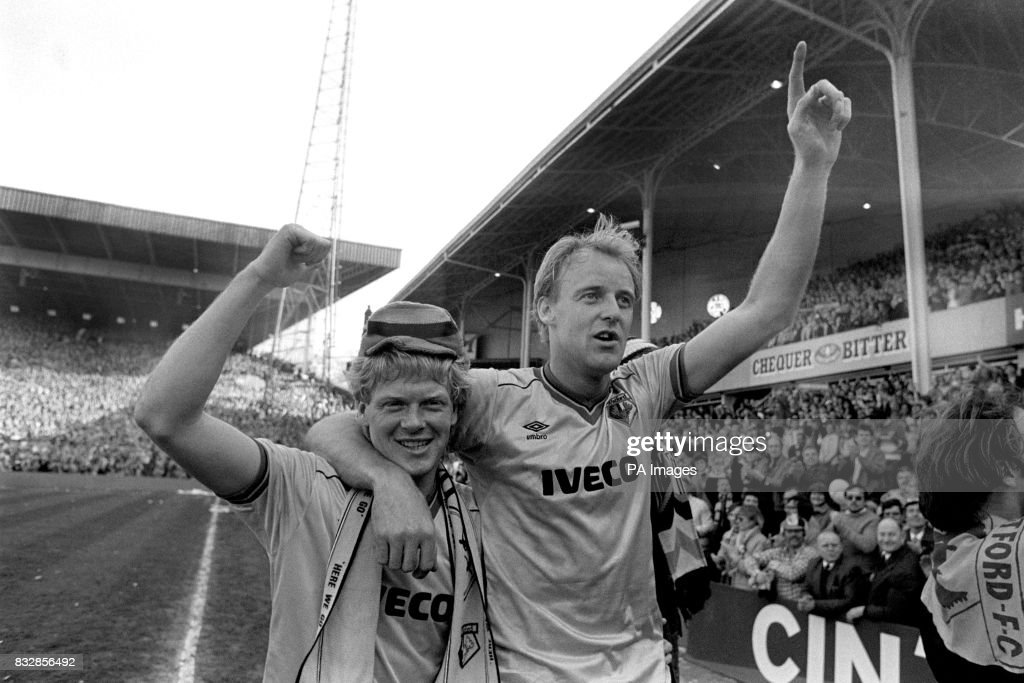 Watford's George Reilly (right) and Mo Johnston celebrate reaching the FA Cup final at the end of the match