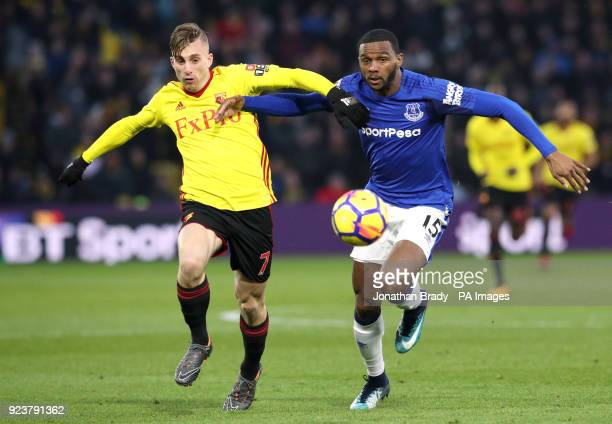 Watford's Gerard Deulofeu and Everton's Cuco Martina battle for the ball during the Premier League match at Vicarage Road London