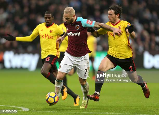 Watford's Gerard Deulofeu battles for the ball during the Premier League match at London Stadium