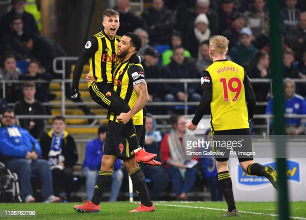 Watford's Gerard Deulofeu celebrates scoring his side's second goal of the game with teammates Troy Deeney and Will Hughes during the Premier League...