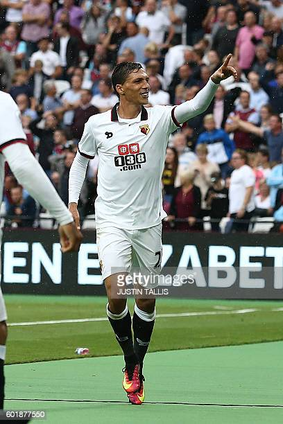 Watford's Germanborn Greek midfielder José Holebas celebrates scoring his team's fourth goal during the English Premier League football match between...