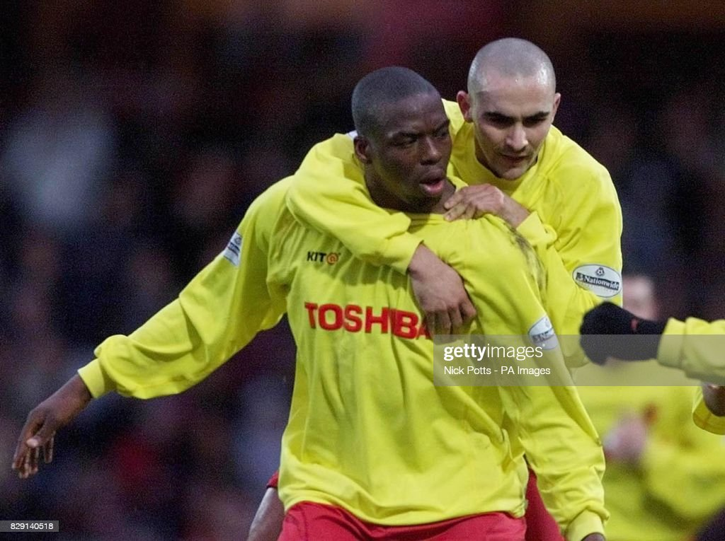 USE. Watford's Gifton Noel Williams celebrates his goal with Paolo Vernazza (right) against Crystal Palace, during their Nationwide Division One match at Watford's Vicarage Road Stadium.