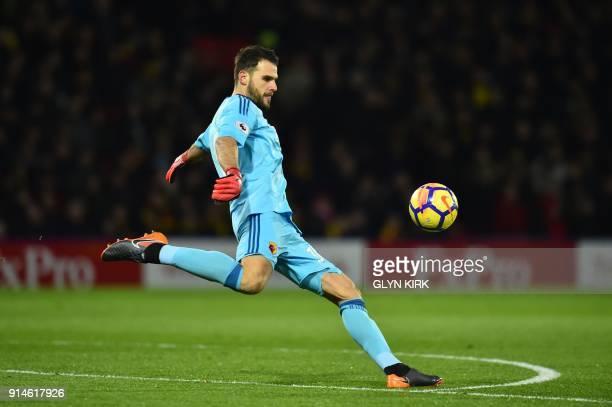 Watford's Greek goalkeeper Orestis Karnezis kicks the ball during the English Premier League football match between Watford and Chelsea at Vicarage...