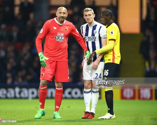 LR Watford's Heurelho Gomes and West Bromwich Albion's Darren Fletcher during EPL Premier League match between Watford against West Bromwich Albion...