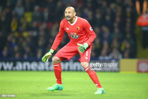 Watford's Heurelho Gomes during EPL Premier League match between Watford against West Bromwich Albion at Vicarage Road Watford Britain 04 April 2017