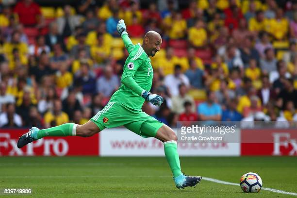 Watford's Heurelho Gomes during the Premier League match between Watford and Brighton and Hove Albion at Vicarage Road on August 26 2017 in Watford...