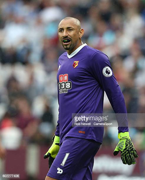 Watford's Heurelho Gomes during the Premier League match between West Ham United and Watford at Olympic Stadium on September 10 2016 in London England