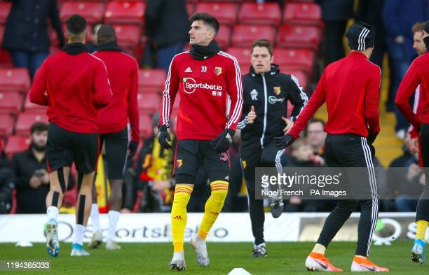 Watford's Ignacio Pussetto warms up ahead of the Premier League match at Vicarage Road London
